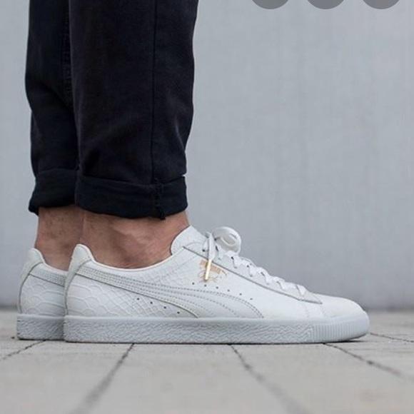 Isla Stewart Seguir Cobertizo  Puma Shoes | Puma Clyde Whisper White Snake Print Sneaker 5 | Poshmark